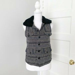 Ace & Jig Quilted Linen & Cotton Striped Vest Grey